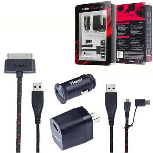Haier-Audio-Apple-Certified-10Watt-Car-amp-Home-USB-Charger-with-Cables