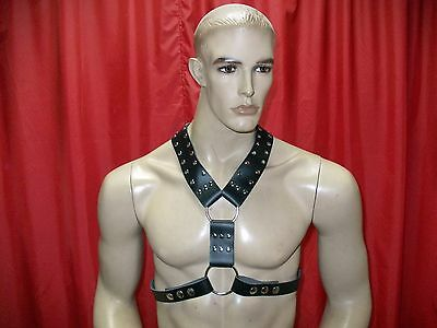 Black leather buckle chest harness for men gay underwear harnais cuir  329usa