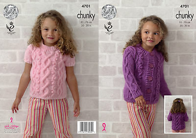 Girls Cable Knit Round Neck Top Cardigan Knitting Pattern King Cole Chunky 4701 | eBay