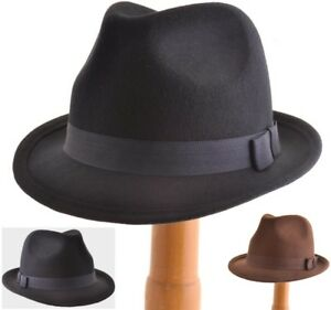 MENS GENTS VTG 40s 50s Style Felt Trilby Hat BNWT NEW 100% Wool ... a358b4dff55