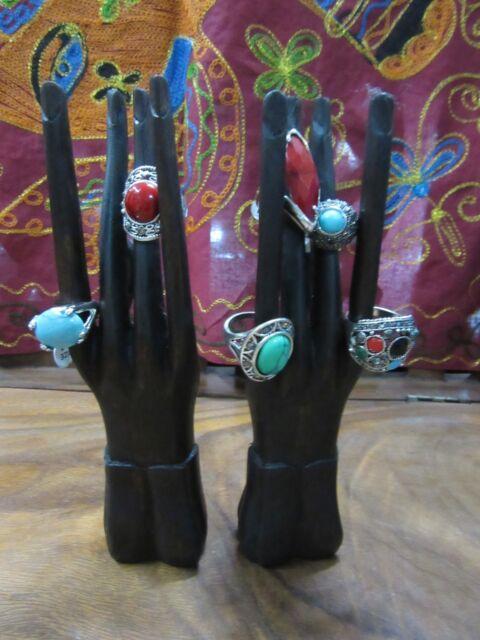 Handmade Hardwood Ring Pair of Hands Display Stand Black 20cm