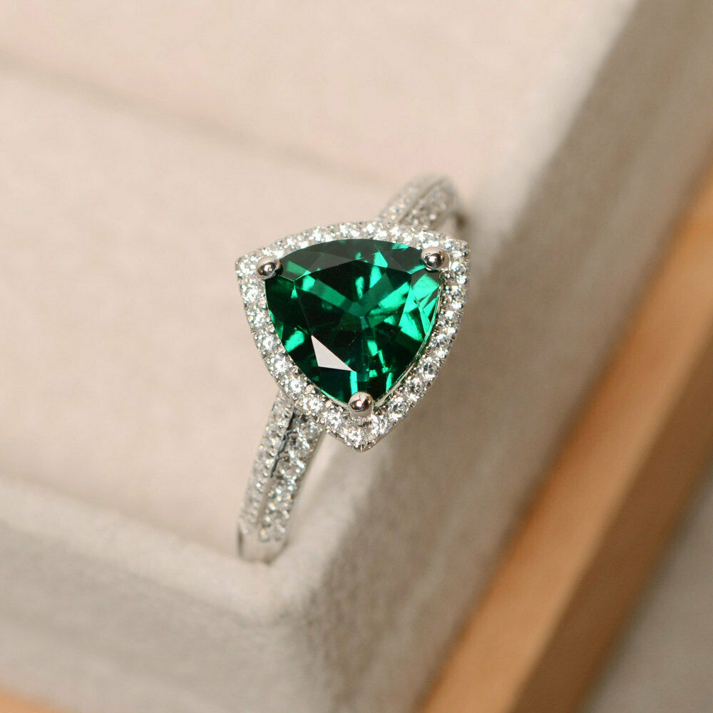 2.10 Carat Genuine Emerald Ring 14K White gold Certified Diamond Size 5 6 7.5 8