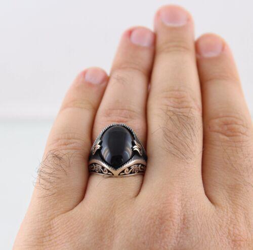 925 Sterling Silver Turkish Handmade Ottoman Onyx Men/'s Luxury Ring All Sizes