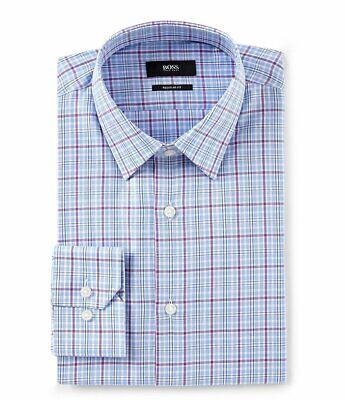 Beförderung neue auswahl spätester Verkauf HUGO BOSS ENZO BLACK LABEL DRESS SHIRT REGULAR FIT POINT COLLAR PLAID BLUE  -NWT | eBay
