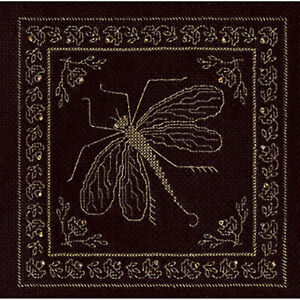 Counted Cross Stitch Kit Golden Dragonfly