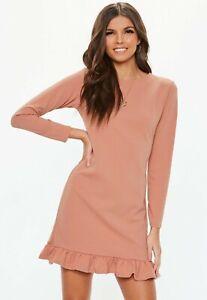 Missguided-Pink-Frill-Detail-Plain-Shift-Dress-size-8