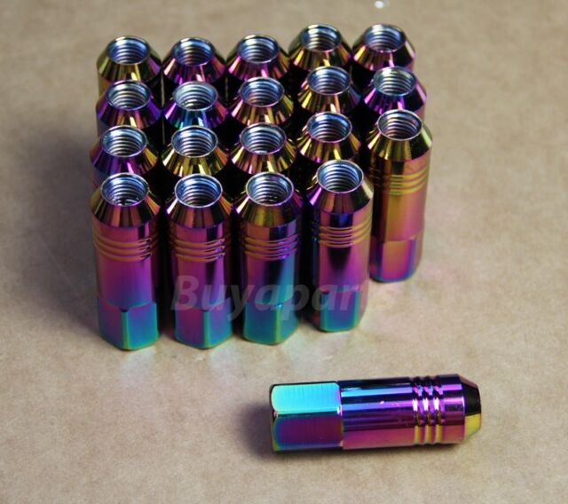 JDM 20X NEO CHROME M12X1.5 60MM ALUMINUM EXTENDED TUNER LUG NUTS FOR HONDA ACURA
