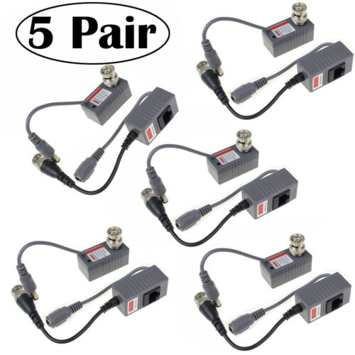 5 Pair CCTV Coax BNC Audio Video Power Balun Transceiver to CAT6 RJ45 Connector