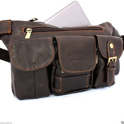 Genuine real Leather Shoulder bag wallet man woman Pocket Waist body Pouch phone