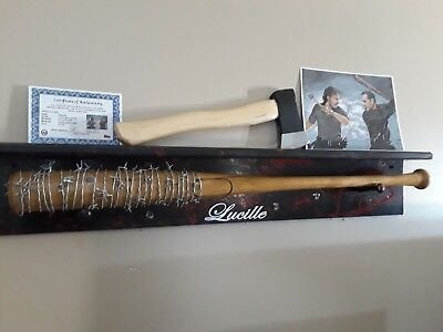 THE WALKING DEAD NEGAN LUCILLE BARBWIRE BAT  w// Ricks axe signed print  w//coa