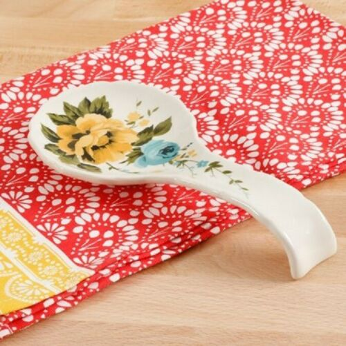 8.5 inches Floral NEW Pioneer Woman Rose Shadow Spoon Rest Stoneware