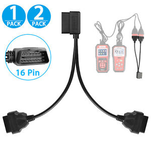 16 Pin OBD2 OBD II Splitter Adapter Cable RA Male to Dual Female Y Cable US Ship