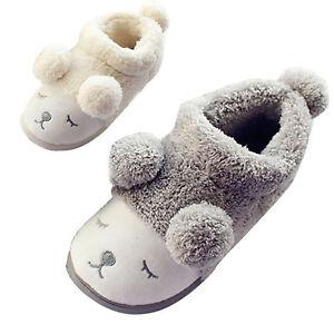 Cute-Sheep-Winter-Warm-Women-Men-Boy-Girl-Home-Slippers-Mules-Plush-Flat-Shoes