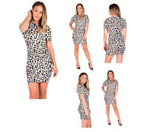 New Ladies Women s Leopard Print Short Cap Sleeve Mini Bodycon Dress ... 01fb543be