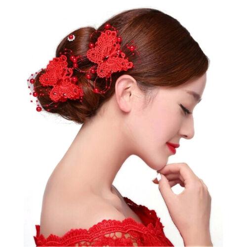 1x Schmetterling Haarspangen Kopfschmuck Spitze Perle Handarbeit Hochzeit U0M