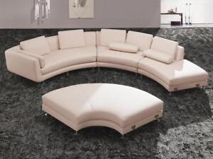 Boston Ultra Modern Off White Genuine Leather Sectional Sofa Soflex