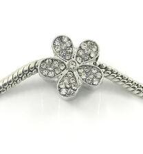 1pcs Flower Silver European Charm Crystal Spacer Beads Fit Necklace Bracelet DIY