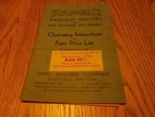 Original Papec Ensilage Cutters Hay Chopper Silo Operating Parts List 1942