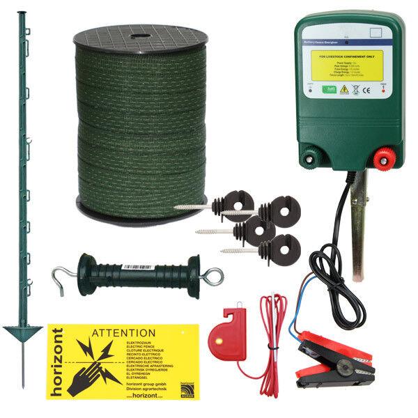 12v Electric Fence Kit - Green 3FT Posts & 20mm Tape - STRONG 0.6J   1.6J Fencer