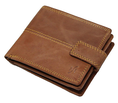 Starhide RFID SAFE Mens Real Distressed Leather Wallet Zip Coin Purse 1044 Brown