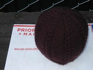 Hand-knit Acrylic Hat - Color: Brown