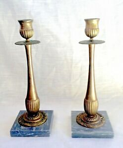 Pair-of-Vintage-Brass-Candle-Holder-Sticks-on-Marble-Bases