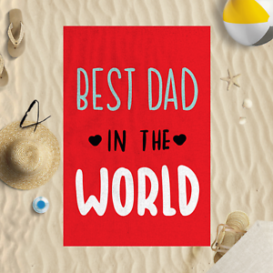 "58x39/"" Fathers Day Best Dad In The World Red Microfibre Beach Towel Holiday"