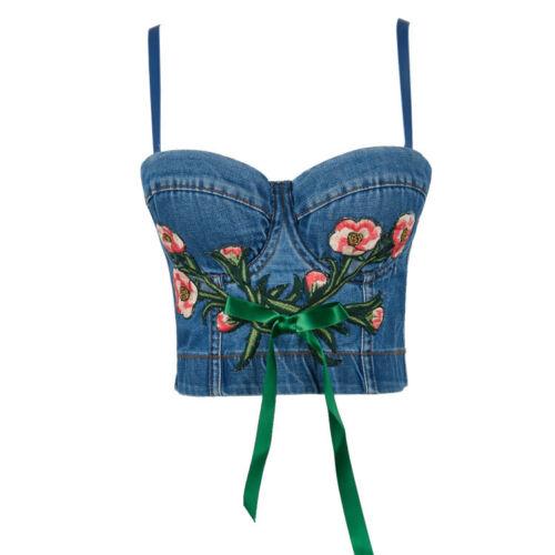 Women Denim Tank Bustier Bra Bralette Corset Vest Crop Top Floral Embroidery