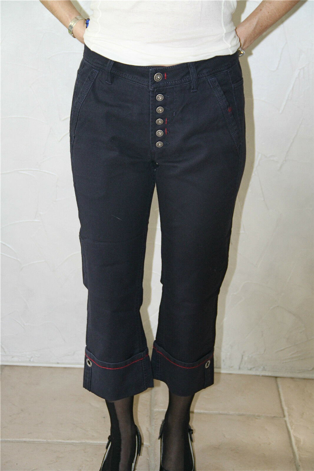 Pantacourt jeans denim M&F GIRBAUD next boyfriend T 36 (26) NEUF ÉTIQUETTE