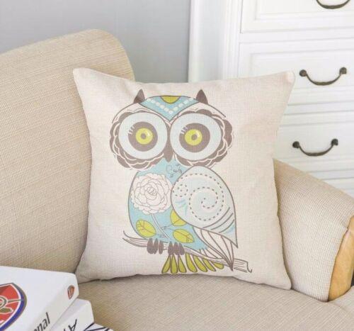 Big eyed Owl Cover Home sofa pillowslip Linen Throw Pillow Case Cushion Green