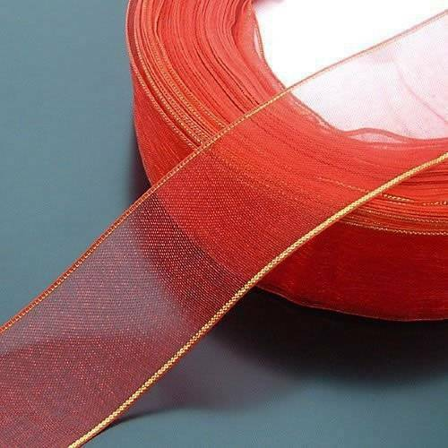 49Yards 0.98/' Gold Edge Chiffon Ribbon Bows Sew Applique Sewing Wedding Gifts