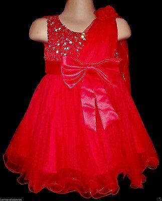 Buono Rosso Natale Flower Girl Nozze Pageant Prom Damigelle Partito Abito Xmas 0-24m- Medulla Benefico A Essenziale