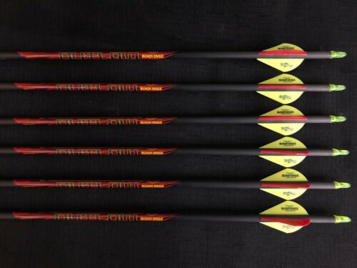 6 Arrows Black Eagle Outlaw 300 .005 Fletched Arrows 1//2 Dozen BRAND NEW