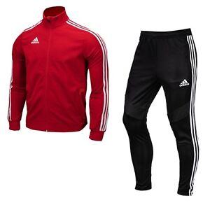 Adidas Men TIRO 19 Climalite Training Suit Set Red Soccer Jacket ...