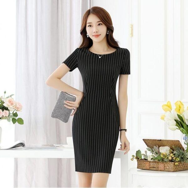 1b5c533463e3 Elegante raffinato vestito abito donna tubino gessato maniche 3520 nero  corto nyoabb8217-Tailleur e abiti sartoriali