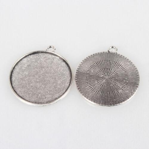 Antique Silver Tibetan Alloy Pendant Setting Bases Bezel Blank Round Tray Craft
