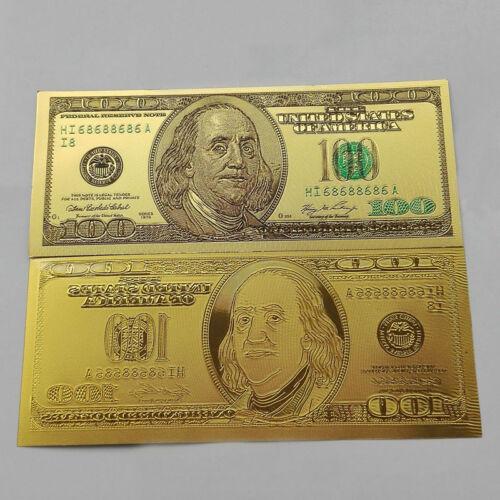 100pcs US$100 Dollar 24k Gold Foil Golden Paper Money Banknotes Crafts Gifts WH