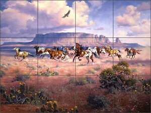 Ceramic-Tile-Mural-Backsplash-Sorenson-Western-Horse-Southwest-Art-RW-JS035