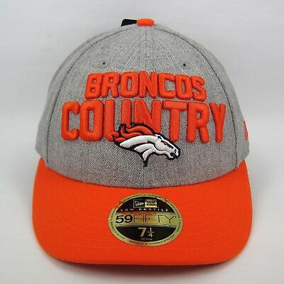 New Era Denver Broncos Hat NFL Team Headwear 59fIFTY Broncos Country Logo Grey Heather//Orange, 7 1//2