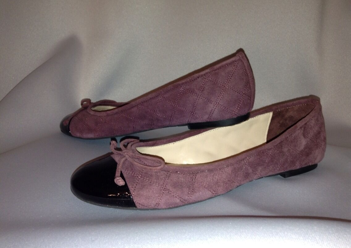 DELMAN Willa Diamond Quilted Burgundy Suede Ballet Flats Patent Toe Cap Toe Patent New 6.5 aec7ec