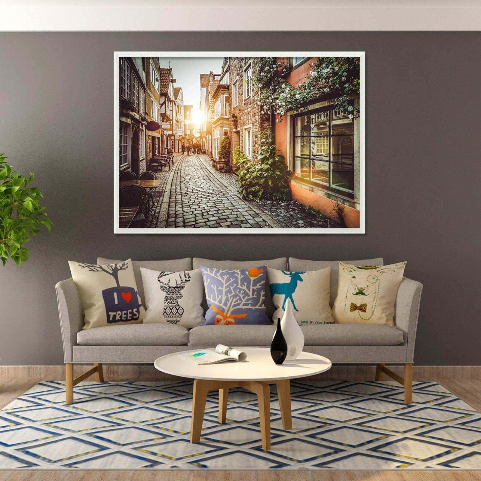 3D Sun Town Alley 2 Framed Poster Home Decor Print Painting Art AJ WALLPAPER