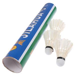 12-piezas-Pluma-de-ganso-Badminton-Volantes-deportivos-Balon-Entrenamie-ws