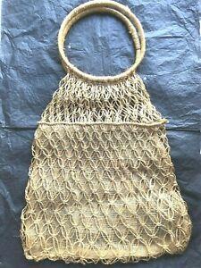 VTG 1970's Purse Handles Rattan Straw Twine Woven Shoulder Bag Pocket USED ONCE!