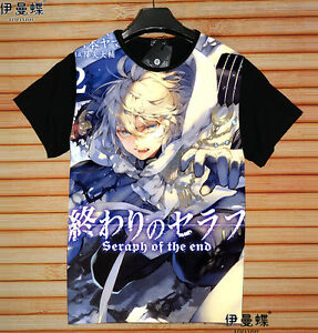 Comics Owari No Seraph Seraph Of The End Anime Manga T-shirt Weiß Kostüme Polyester