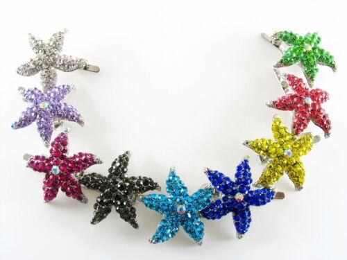 Magnet Hair Clip use Swarovski Crystal Hairpin Starfish Seastar Mermaid Black