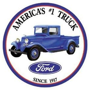 Ford Trucks - Round Vintage Retro Tin Metal Sign 12 x 12in