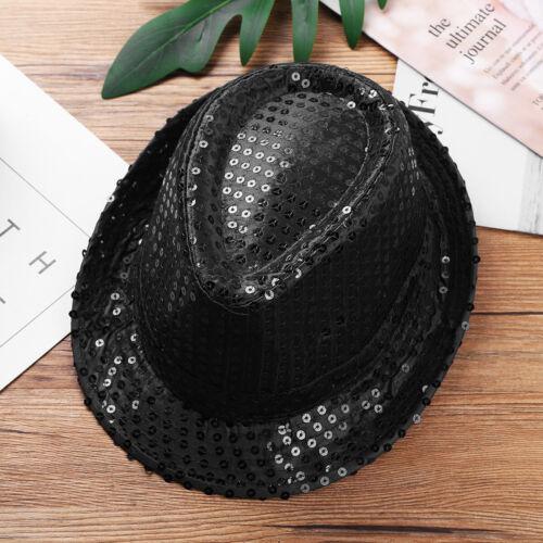 Kids Fedora Trilby Glitter Sequins Hat Costume Party Show Cap Dance Cap Props
