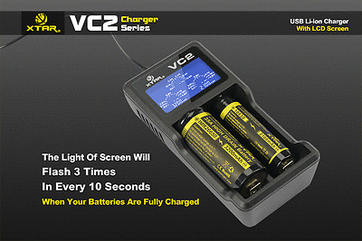 New XTAR VC2 Universal Intelligent Battery LCD Charger for Li-ion 26650 18650 HU