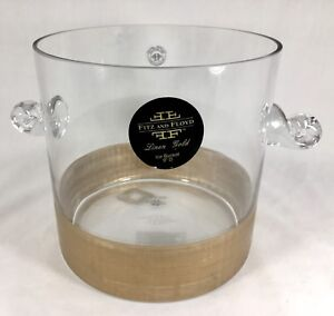 Fitz-amp-Floyd-Gold-Linen-9-034-Glass-Ice-Bucket-New-Barware-Cocktail-Discontinued