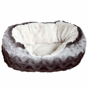 Rosewood-Snuggles-Plush-Grey-Cream-Dog-Bed-Pet-Puppy-Luxury-Round-Soft-Cosy